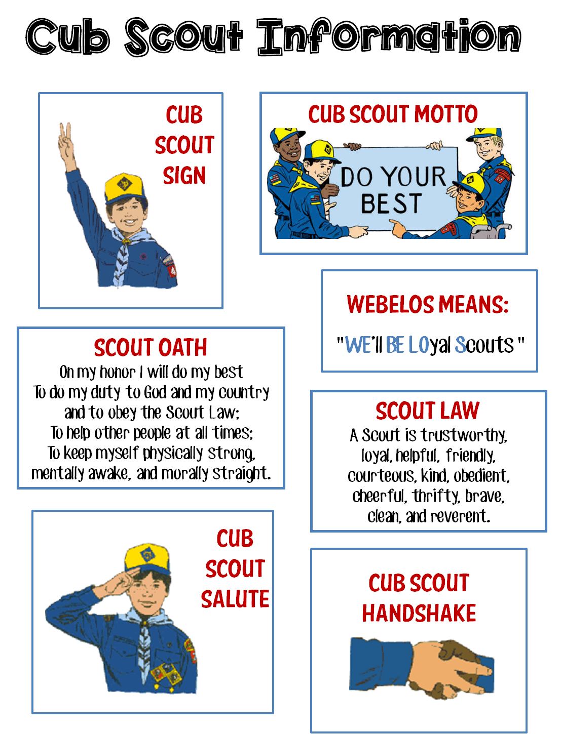 Transformative image for cub scout oath and law printable
